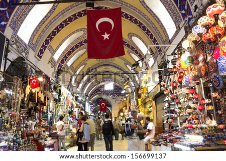 ISTANBUL, August 31: People shopping in the Grand Bazar in Istanbul, Turkey, one of the largest covered markets in the world, Istanbul, August 31, 2013