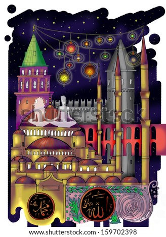 Istanbul colored drawing - stock photo