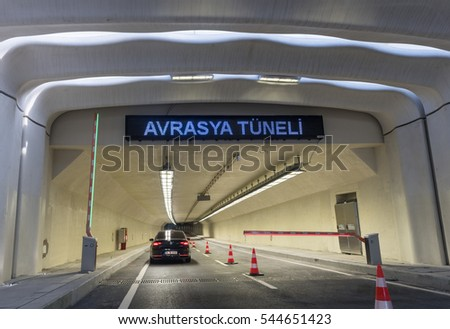 ISTANBUL - DECEMBER 25, 2016: Eurasia Tunnel (Avrasya Tuneli) or Istanbul Bosphorus Highway Tube Transition Project. Is a tunnel that links Asian and European. Tunnel opened 20th December 2016.