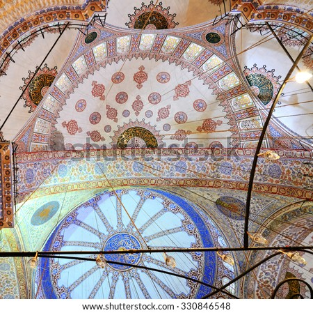 ISTANBUL - Desember 1: Interior of of The Sultan Ahmed Mosque, known as the Blue Mosque, Istanbul, Turkey, Desember 1, 2014 - stock photo