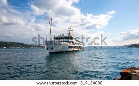 Istanbul ferry sailing in to Bosphorus Sea , Istanbul, Turkey - stock photo