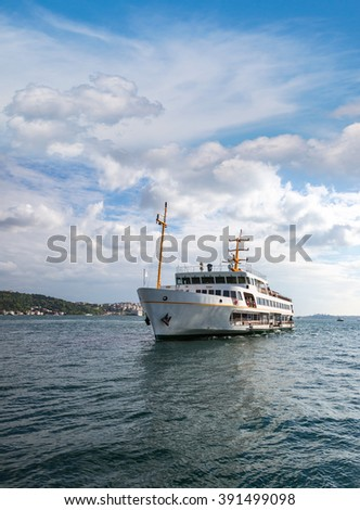 Istanbul ferry sailing in to Bosphorus Sea , Istanbul, Turkey