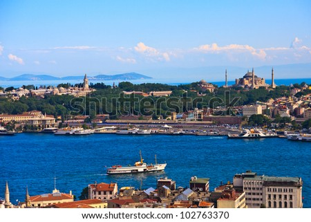 Istanbul Golden Horn View with Topkapi Palace and Hagia Sophia, Turkey - stock photo