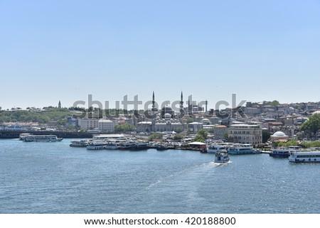 ISTANBUL - Haliç  , TURKEY- April, 2016- View to Istanbul - stock photo