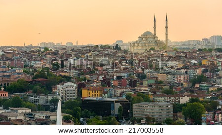 Istanbul in sunset light