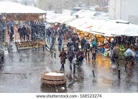 Istanbul in Winter. Karakoy Pier and fish market in heavy snowfall.  - stock photo