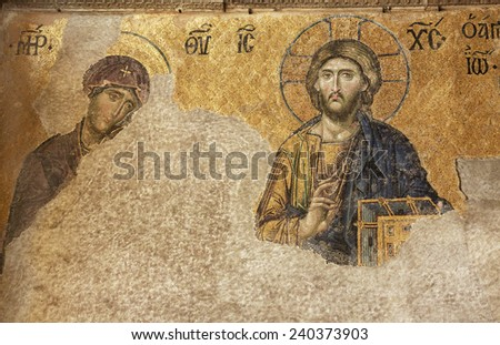 ISTANBUL - JANUARY 03,2012:Hagia Sophia was beautifully decorated with mosaics within the centuries during Byzantine period. These mosaics depicted Virgin Mary, Jesus, saints and emperors or empresses