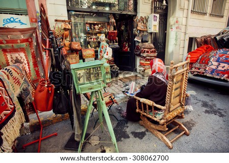 Lovely ISTANBUL   23 JULY: Antique Market And Customers Near Vintage Furniture  Store On July 23