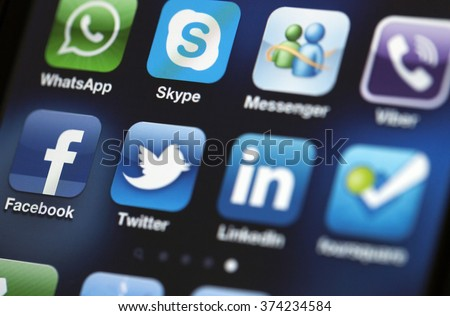ISTANBUL - JULY 06, 2012: Apple Iphone 4S screen with social media applications of Facebook, Twitter, Skype, Linkedin, Whatsapp, foursquare, Messenger and Tumblr. - stock photo