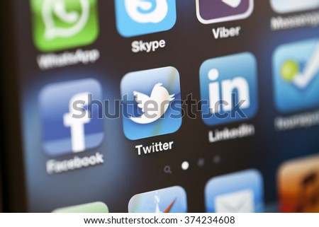 ISTANBUL - JULY 06, 2012: Apple Iphone 4S screen with social media applications of Facebook, Twitter, Skype, Linkedin, Whatsapp, foursquare, Messenger and Viber. - stock photo