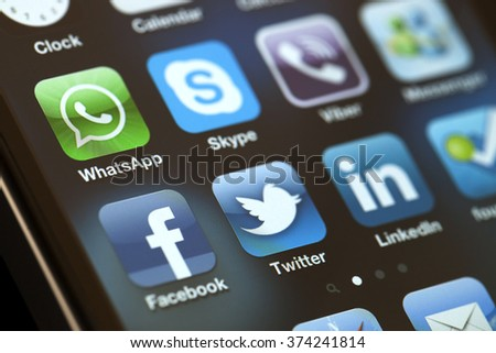 ISTANBUL - JULY 06, 2012: Apple Iphone 4S screen with social media applications of Facebook, Twitter, Skype, Linkedin, Viber, Whatsapp and Messenger. - stock photo