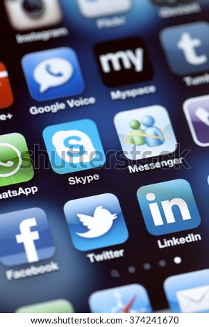 ISTANBUL - JULY 06, 2012: Apple Iphone 4S screen with social media applications of Myspace, Facebook, Twitter, Skype, Linkedin, Whatsapp, Google Voice, Flickr, Instagram and Messenger. - stock photo