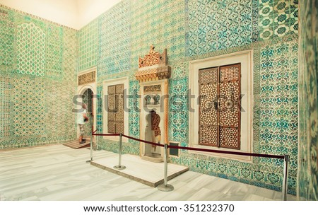 ISTANBUL - JULY 22: Colorful tiled walls of 16th century masterpiece inside Topkapi palace on July 22, 2015 in Turkey. Great example of palaces from Ottoman period, UNESCO World Heritage Site - stock photo