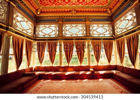 ISTANBUL JULY 22 Curtains Turkish Sofas Stock Photo Royalty Free