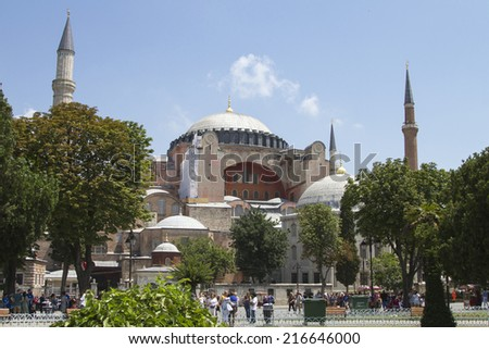 ISTANBUL - JULY 5: Mosque - Museum of Hagia Sophia in Sultanahmet Square in Istanbul on July 5, 2014 in Istanbul. - stock photo