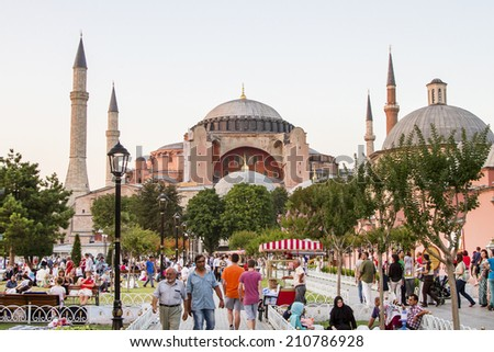 ISTANBUL - JULY 11: View of the Hagia Sophia from the Blue Mosque in Istanbul on July 11, 2014 in Istanbul. - stock photo