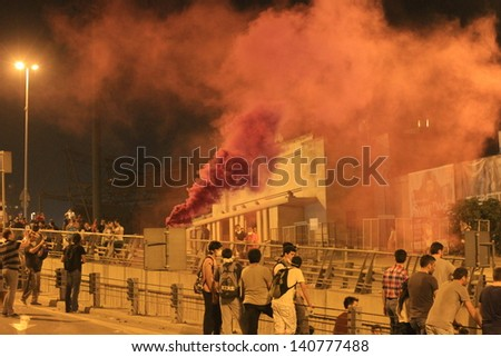 ISTANBUL - JUN 1: At Besiktas Inonu Stadium, Violence sparked by plans to build on the Gezi Park have broadened into nationwide anti government unrest on June 1, 2013 in Istanbul, Turkey.