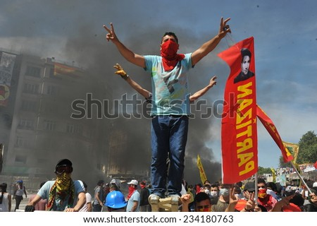 ISTANBUL - JUN 11: In Taksim Gezi Park, protests sparked by plans to build on the Gezi Park have broadened into nationwide anti government unrest on June 11, 2013 in Istanbul, Turkey. Taksim square