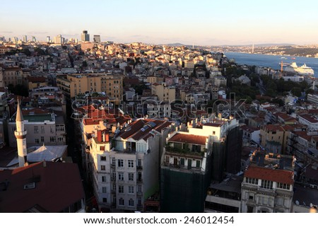 Istanbul landscape from Galata tower at sunset, Turkey - stock photo