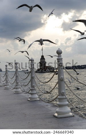Istanbul Maiden Tower - stock photo