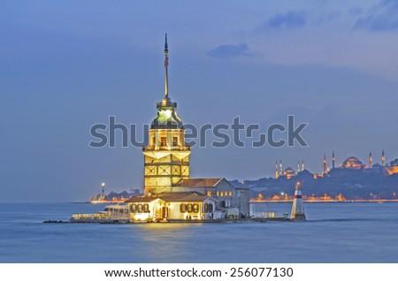 Istanbul Maiden Tower (kiz kulesi). Turkey - stock photo