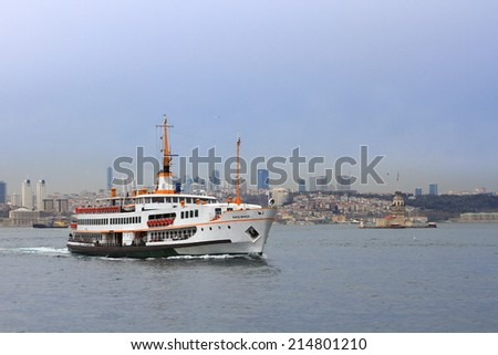 ISTANBUL - MAR 7, 2013: Ferry BARIS MANCO sails from Karakoy. This mode of transport in Istanbul can be used to commute to work or as it is for many just to get away from all the crowds.  - stock photo