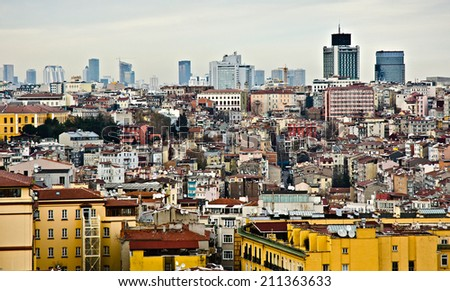 ISTANBUL, MARCH 24: cityscape from Galata Tower on March 24, 2014 in Istanbul, Turkey. Istanbul is the capital of Turkey and the largest city in Europe, with a population of 14.2 million.