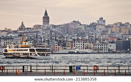 ISTANBUL - MARCH 23: Golden Horn and Galata Tower on March 23, 2014 in Istanbul, Turkey. Istanbul is the capital of Turkey and the largest city in Europe, with a population of 14.2 million.  - stock photo