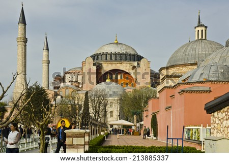 ISTANBUL - MARCH 23: Hagia Sofia on March 23, 2014 in Istanbul, Turkey. The Hagia Sofia is one of Istanbul's most visited attractions and was originally built in the 6th Century AD.
