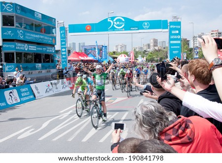 ISTANBUL - MAY 4 : British cyclist Mark Cavendish is  at finish line  at 50 th International Presidential Cycling Tour May 04, 2014  in Istanbul , Turkey