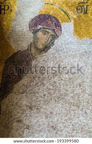 ISTANBUL - MAY 01, 2014: Christian mosaic icon in Cathedral mosque Hagia Sofia 01, 2014 in Istanbul, Turkey. Hagia Sophia is the greatest monument of Byzantine Culture.  - stock photo