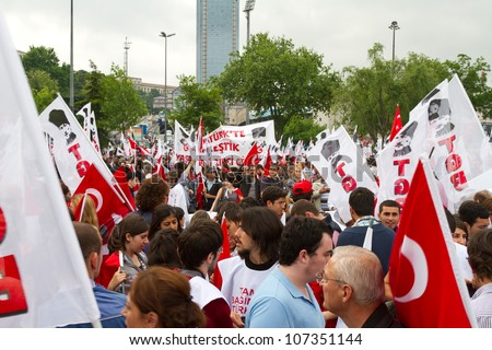 ISTANBUL - MAY 19: Commemoration of Ataturk, Youth and Sports Day march in Taksim on May 19, 2012 in Istanbul, Turkey. Turkey Youth Union (TGB) organized this march from Tunel Square to Dolmabahce.