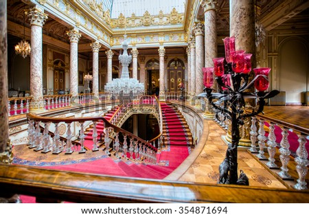 ISTANBUL - MAY 06 : Dolmabahce Palace interior on May 06 2014 in Istanbul Turkey. Baccarat chandelier and staircase - stock photo