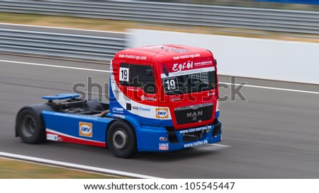 ISTANBUL - MAY 13: Dominique Lacheze of MAN Truck Sport Lutz Bernau team during Super Pole of 2012 FIA European Truck Racing Championship, Istanbul Park on May 13, 2012 in Istanbul, Turkey.