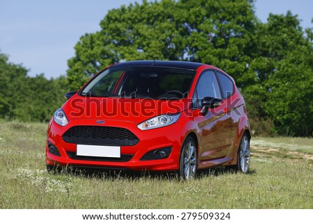 ISTANBUL - MAY 6: Ford Fiesta on May, 2015 Istanbul. The Ford Fiesta is a supermini car manufactured by the Ford Motor Company. - stock photo