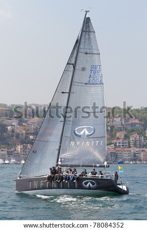 ISTANBUL - MAY 14: Infiniti, First 40 competes in the W Collection Sailing Cup Bosphorus 2011 boat race, on May 14, 2011 Istanbul, Turkey.