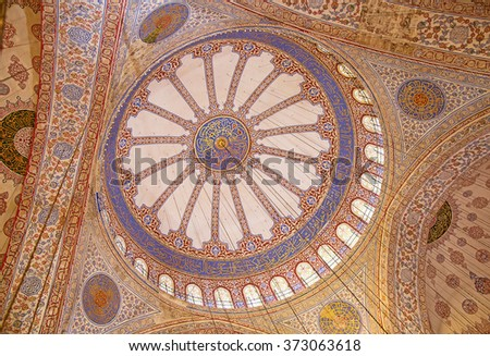"ISTANBUL - MAY 3: Interior of the ""Blue"" mosque on Mal 3, 2015 in Istanbul,Turkey. Blue mosque is of the main religious centers and tourist attractions of Istanbul."
