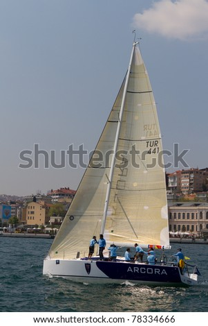 ISTANBUL - MAY 14: 4 KMS RC, A 40 RC competes in the W Collection Sailing Cup Bosphorus 2011 boat race, on May 14, 2011 Istanbul, Turkey.