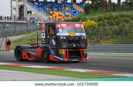 ISTANBUL - MAY 13: Markus Bosiger of Renault MKR Technology Team during 3rd race of 2012 FIA European Truck Racing Championship, Istanbul Park on May 13, 2012 in Istanbul, Turkey.