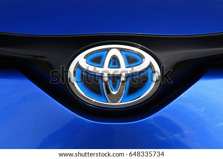 ISTANBUL - MAY: Special brand logo with blue background used by Toyota in Hybrid models. May, 2017 Istanbul. Japan-based Japanese car brand