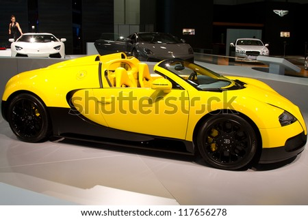 ISTANBUL  NOVEMBER 03: Bugatti Veyron Super Sport EB 16.4 at Istanbul Auto Show 2012 on November 03, 2012 in Istanbul, Turkey. Veyron is the fastest street-legal production car in the world. - stock photo