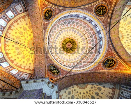 ISTANBUL - November 29: Decoration ornament in New Mosque at Istanbul, Turkey, November 29, 2014