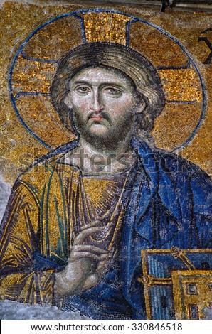 ISTANBUL - November 30: Interior view of Haghia Sophia. Mosaic of Jesus Christ, 11th centry. Istanbul, Turkey, November 30, 2014 - stock photo