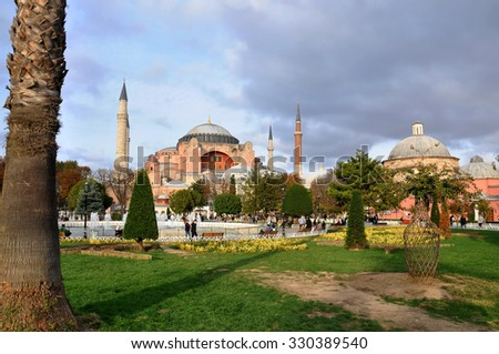 ISTANBUL - OCT 16: Hagia Sophia with garden in Istanbul on October 16. 2015 in Turkey