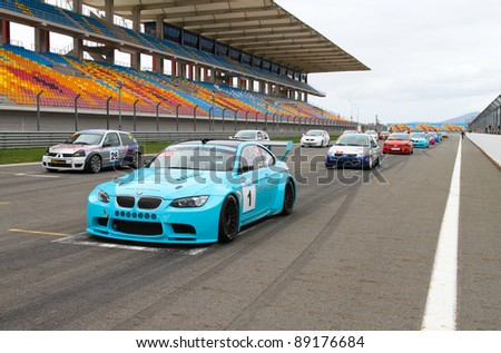 ISTANBUL - OCTOBER 29: Cars at start line before Turkey  Track Championship on October 29, 2011 in Istanbul, Turkey - stock photo