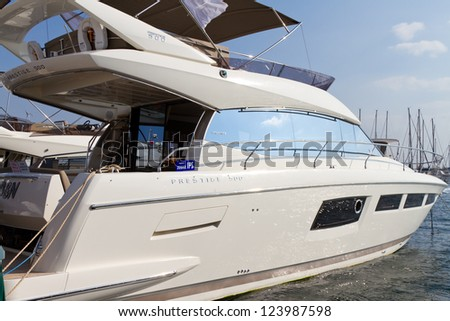 ISTANBUL - OCTOBER 06: Prestige 500 in 31st International Istanbul Boat Show on October 06, 2012 in Istanbul, Turkey. Best Interior Design?�� in September 2011 at World Yachts Trophies Awards in Cannes