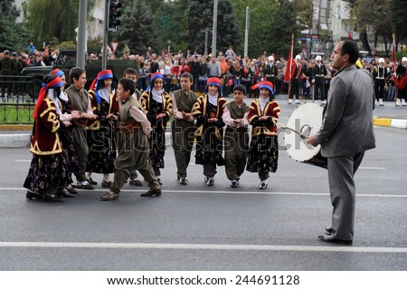 ISTANBUL - OCTOBER 29: Soldiers march at Vatan Avenue during Republic Day celebration of Turkey on October 29, 2010 in Istanbul, Turkey.