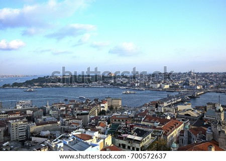Istanbul old city skyline from top of Galata tower, Fatih, Istanbul, Turkey