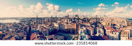 Istanbul panorama with old houses, sunny summer day - stock photo