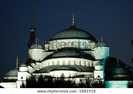 Istanbul´s famous Blue Mosque at Night - stock photo